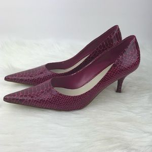 Nine West Pointy Toe Pink Pumps Heels Faux Skin